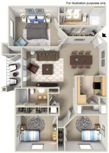 Floor Plan  Rapallo Apartments Tuscany B 3 bedroom floor plan