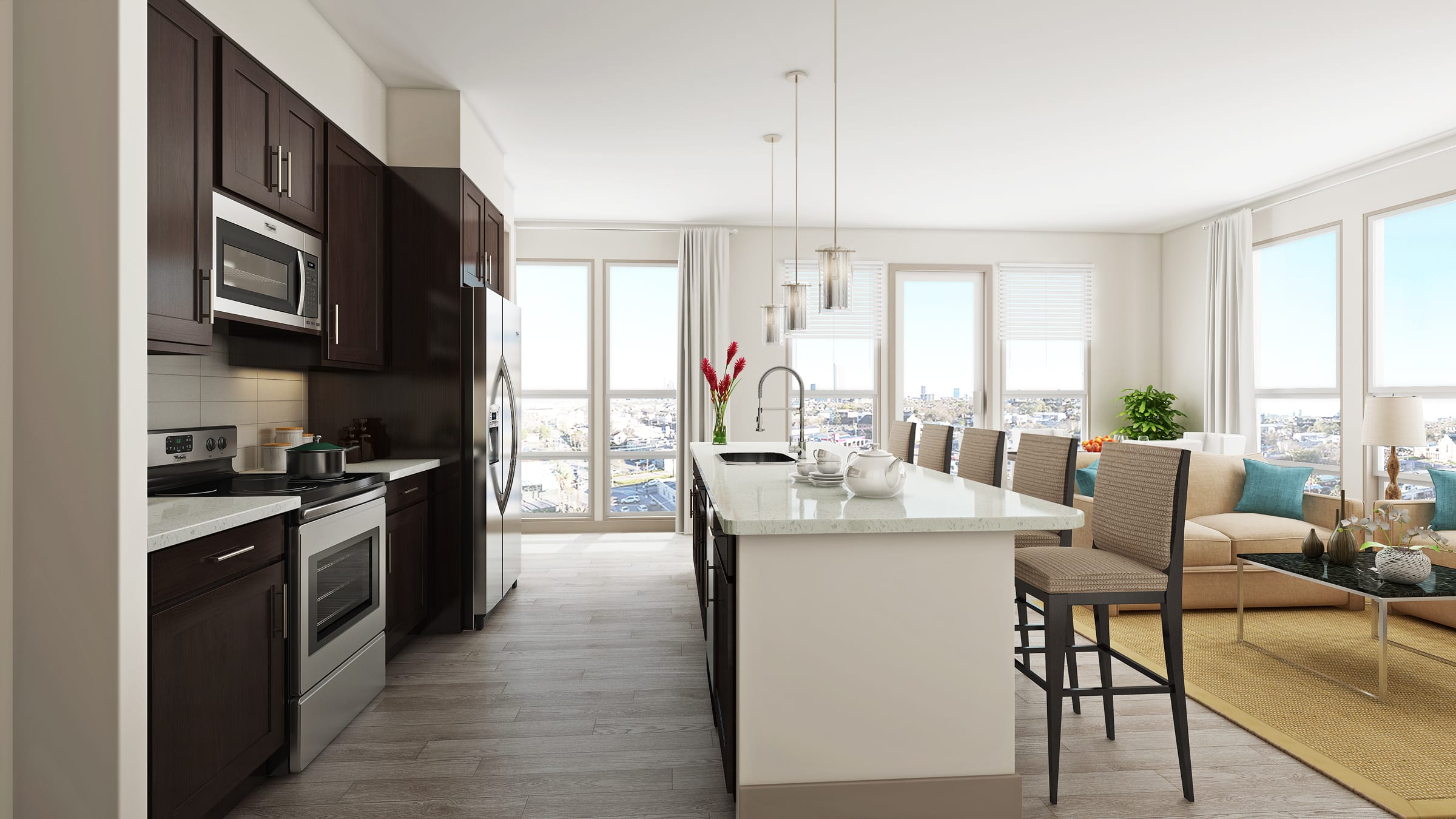 Well Organised Kitchen at Azure Houston Apartments, Texas, 77007