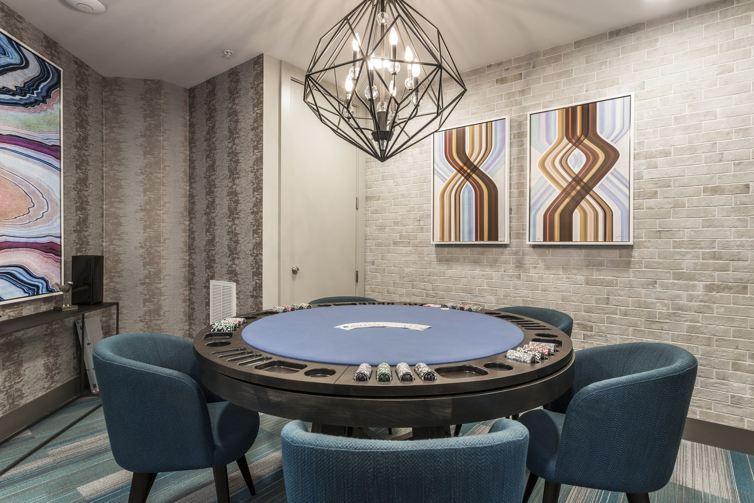 Game Room and Poker Table at Azure Houston Apartments, Texas, 77007