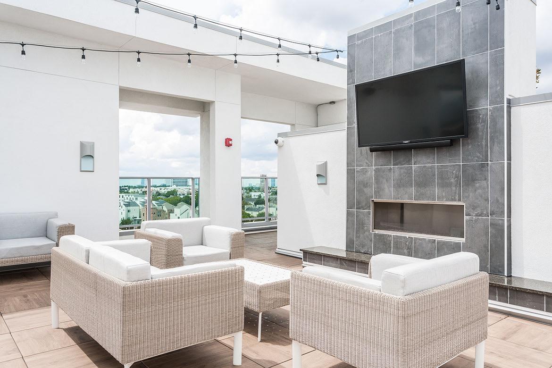 Rooftop Deck at Azure Houston Apartments, Houston, Texas