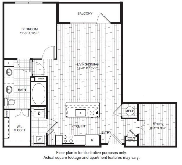 Floor Plan  A14 Floor Plan at Windsor CityLine, opens a dialog