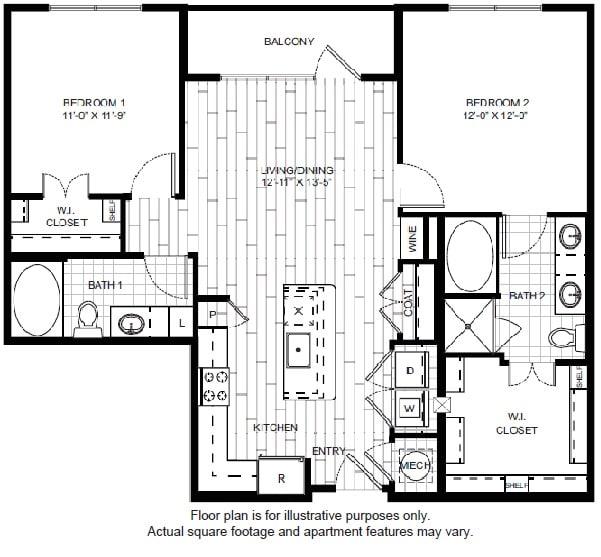 Floor Plan  B1-1 Floor Plan at Windsor CityLine, opens a dialog