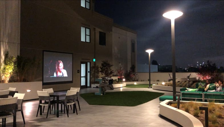 Outdoor Movie Theater at The Mansfield at Miracle Mile, Los Angeles, 90036