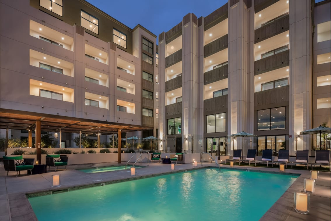 Sparkling Pool and Jacuzzi with Cabanas at The Mansfield at Miracle Mile, Los Angeles, 90036