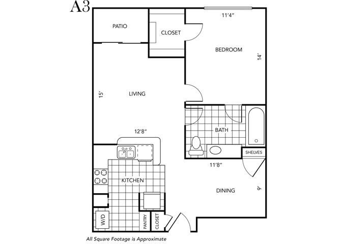 Floor Plan  One Bedroom One Bathroom, opens a dialog