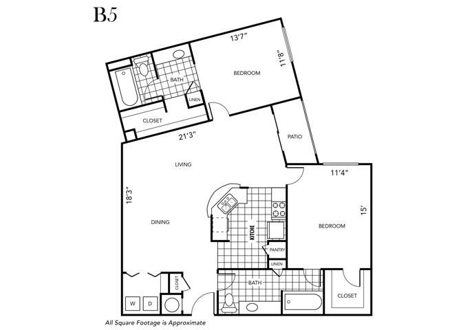Floor Plan  Two Bedroom Two Bathroom, opens a dialog