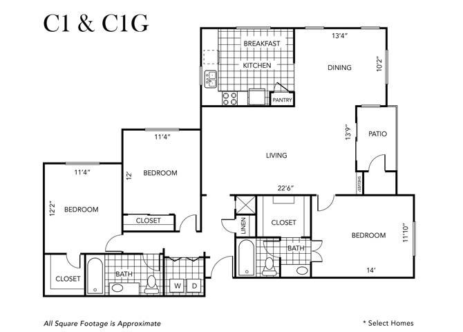 Floor Plan  Three Bedroom Two Bathroom, opens a dialog
