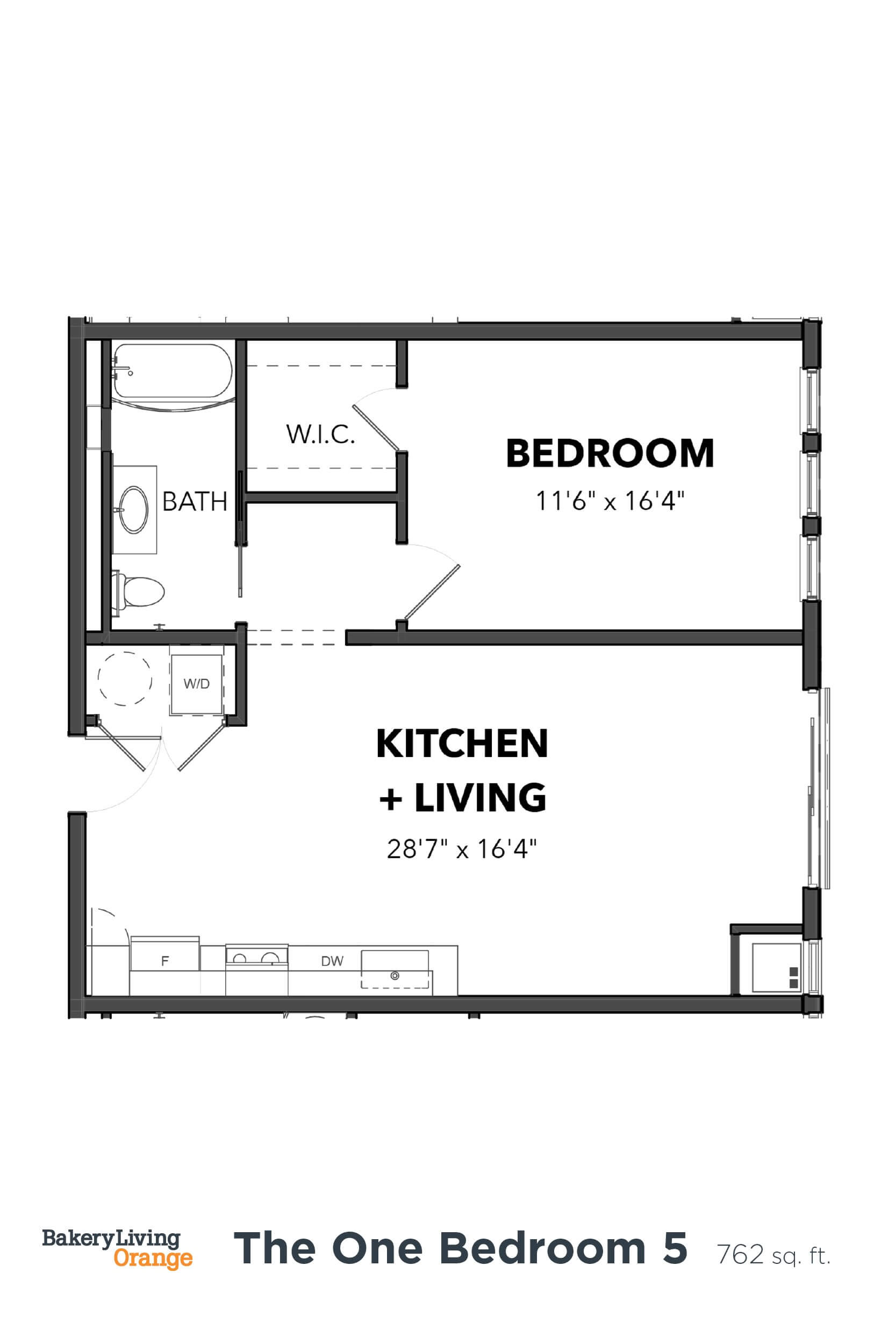 Floor Plan  Bakery Living A5, apartments in Pittsburgh, Pennsylvania
