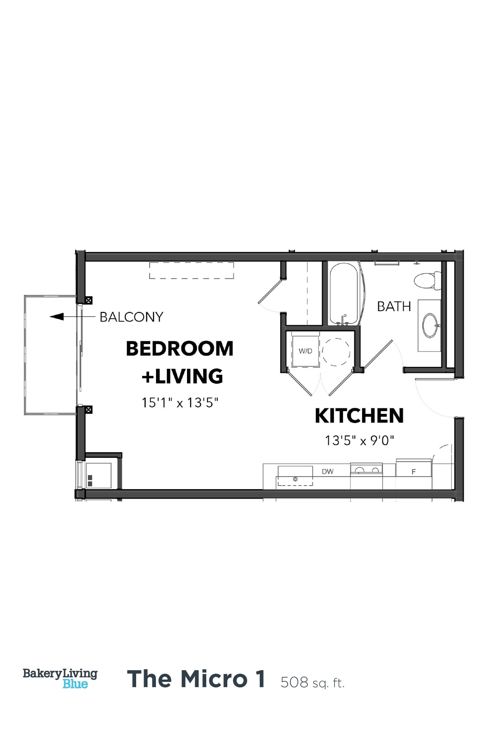 Floor Plan  Bakery Living Micro 1, apartments in Pittsburgh, Pennsylvania