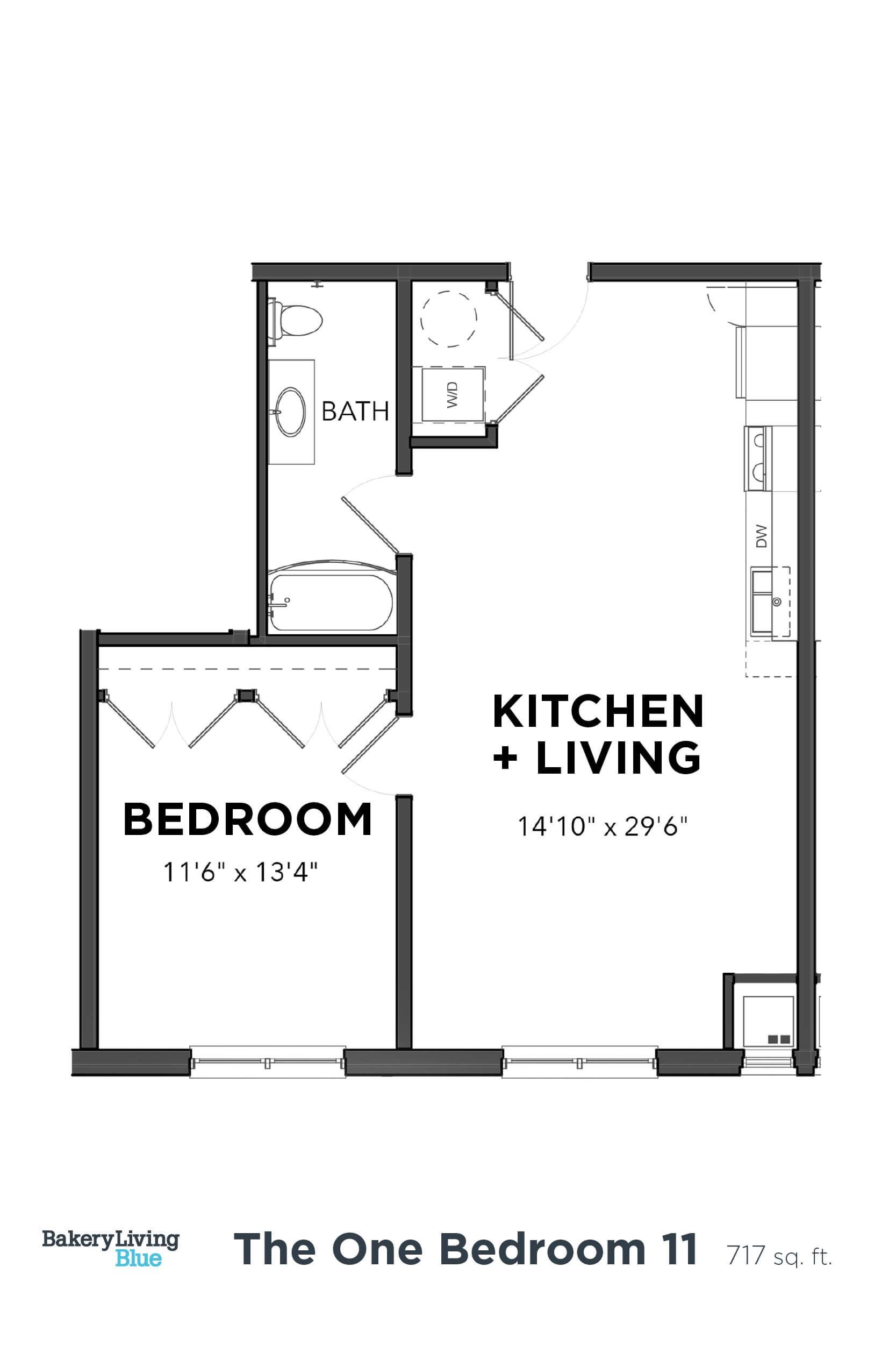 Floor Plan  Bakery Living One Bedroom 11