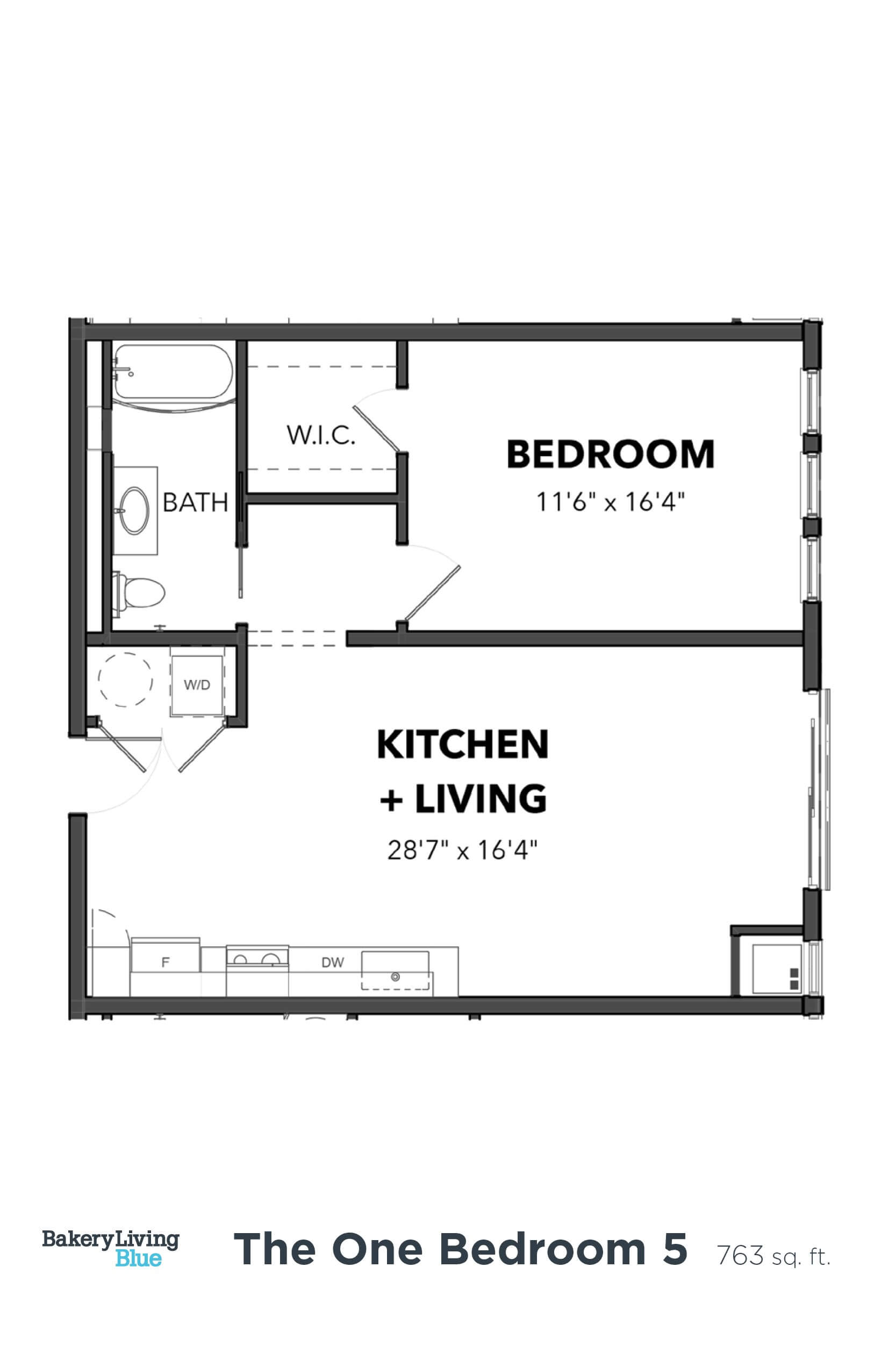 Floor Plan  Bakery Living One Bedroom 5, apartments in Pittsburgh, PA 15206
