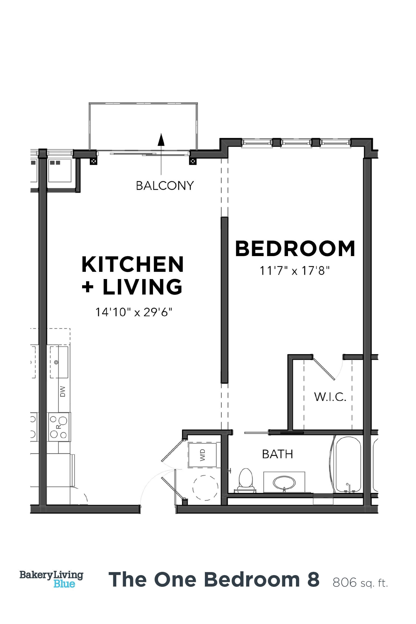 Floor Plan  Bakery Living One Bedroom 8, apartments in PA 15206
