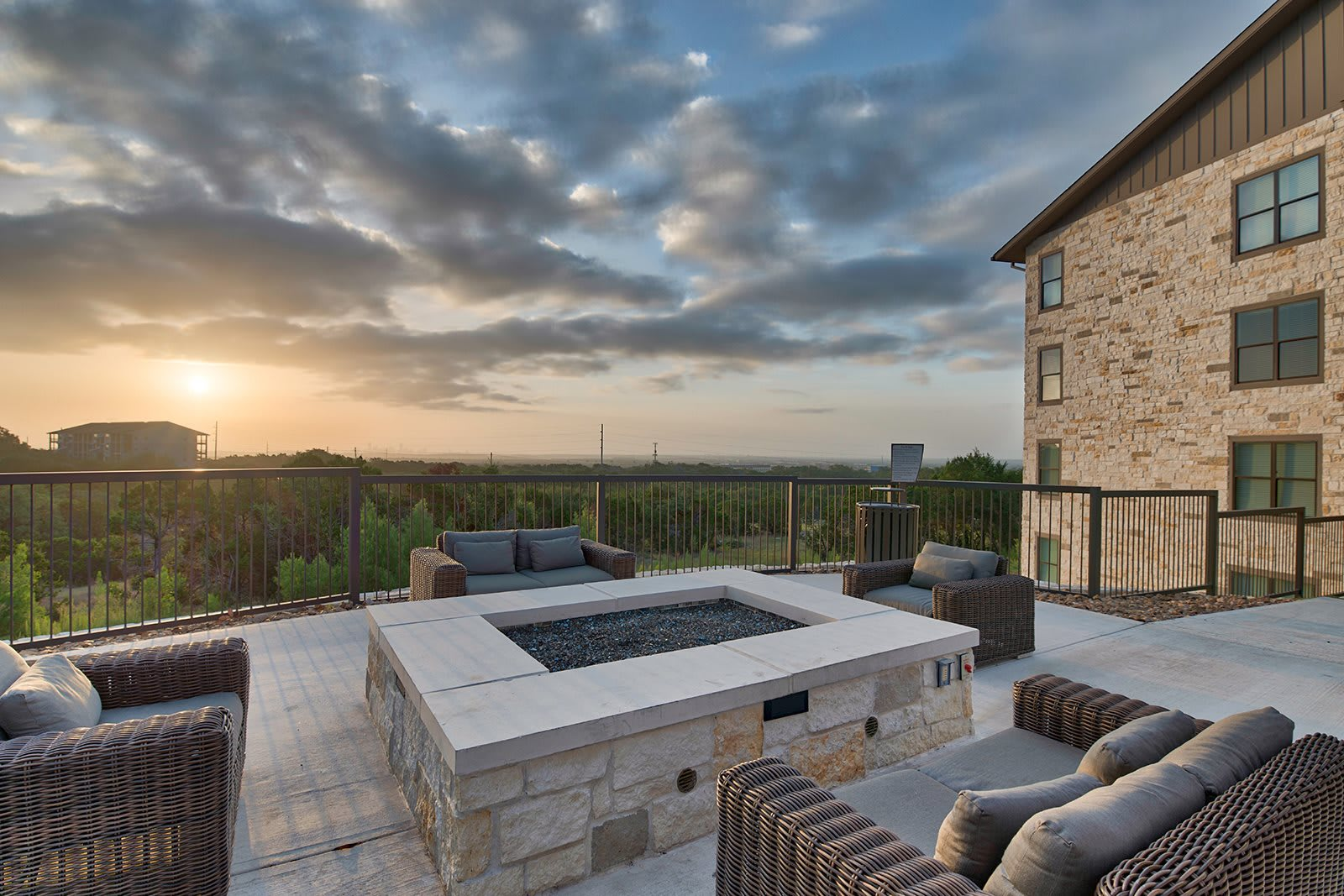 Fire Pit and Grilling Area with Panoramic City Views at Windsor Lantana Hills, Austin