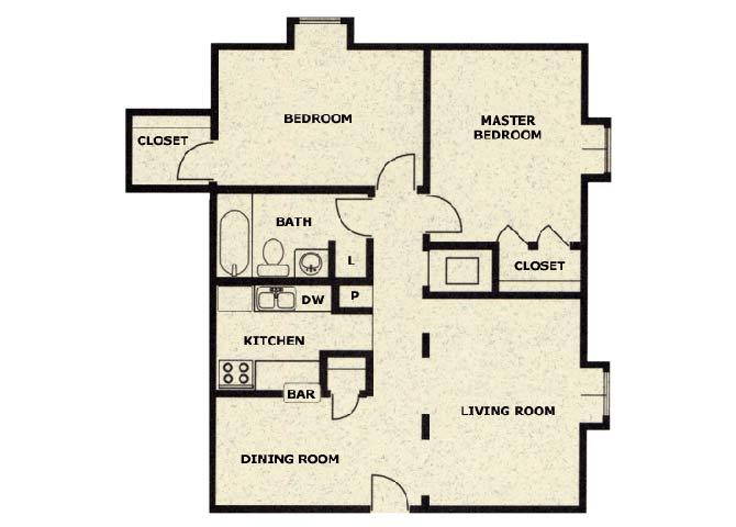 Floor Plan  2 bedroom 1 bathroom floor plan at Wellington Estates in San Antonio, TX