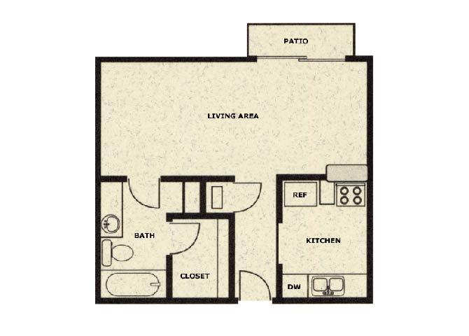 Floor Plan  Studio floor plan at Wellington Estates in San Antonio, TX