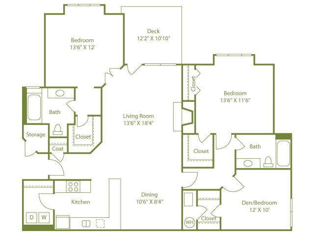 Floor Plan  Three-bedroom two bath apartment with laundry room off kitchen, separate dining area open living room, outdoor patio and walk in closets in all bedrooms.