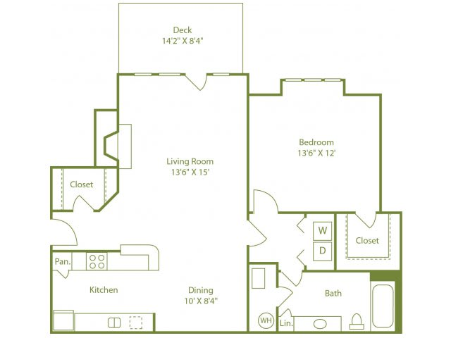 Floor Plan  One bedroom one bath apartment home with galley kitchen, dining area, outdoor patio off living room and walk in closet in bedroom.