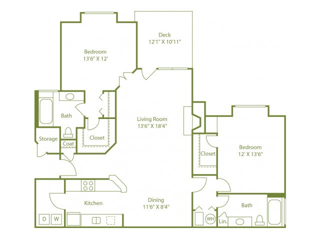 Floor Plan  Two-bedroom two bath split floor plan apartment home with laundry room, separate dining area, open living room, outdoor patio and walk in closets in each bedroom.
