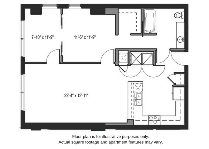 Floor Plan  Floor plan at The Martin, Seattle, Washington, opens a dialog