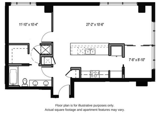 Floor Plan  Floor plan at The Martin, Washington, 98121, opens a dialog