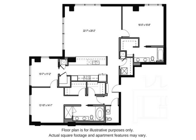 Floor Plan  Floor plan at The Martin, Seattle, WA, opens a dialog