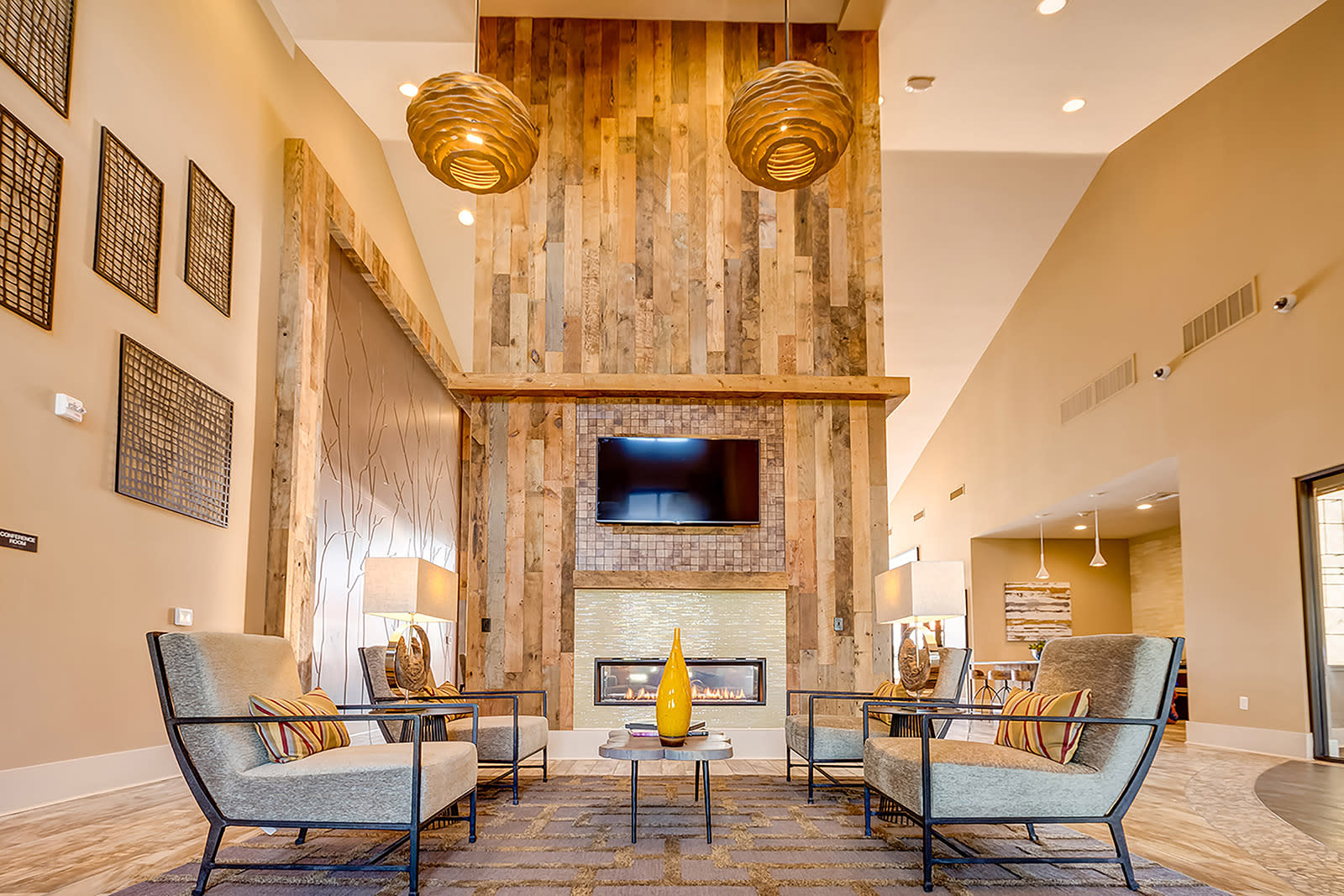 Clubhouse fireplace at Windsor at Pinehurst, Colorado, 80235