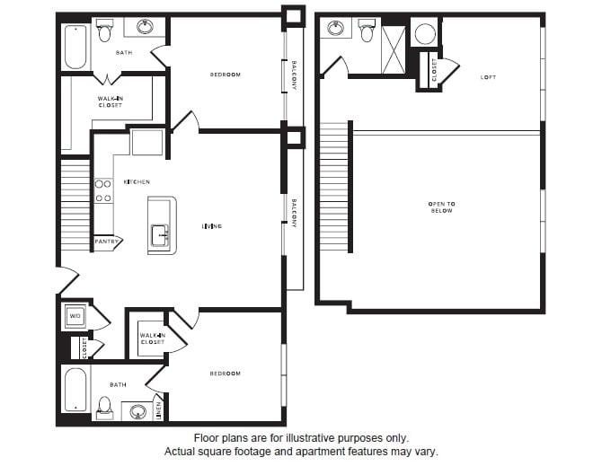 Floor Plan  B1L floor plan at Windsor Shepherd, Houston, Texas, opens a dialog