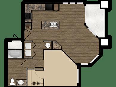 Floor Plan  1 bedroom 1 bathroom floor plan at Elevation Apartments in Flagstaff, AZ, opens a dialog