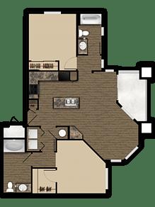 Floor Plan  2 bedroom 2 bathroom floor plan at Elevation Apartments in Flagstaff, AZ, opens a dialog