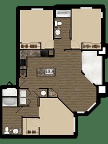 Floor Plan  3 bedroom 2 bathroom floor plan at Elevation Apartments in Flagstaff, AZ, opens a dialog