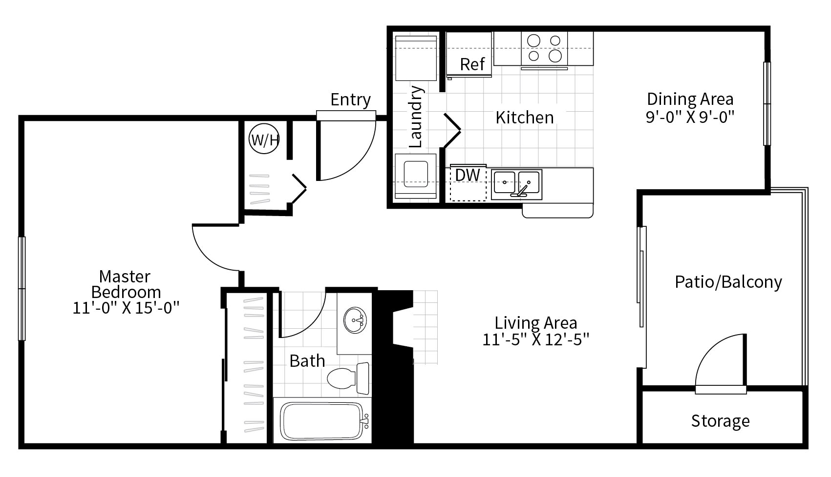 Floor Plan  1 bedroom 1 bathroom floor plan at Grammercy apartments in Renton, Washington., opens a dialog