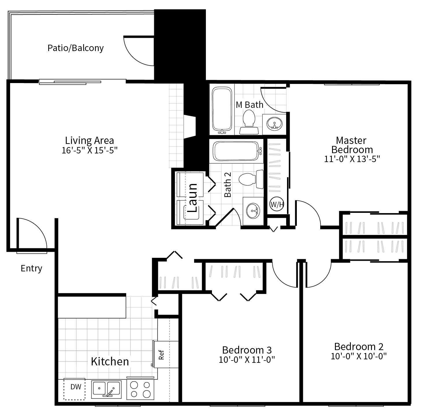 Floor Plan  3 bedroom 2 bathroom floor plan at Grammercy apartments in Renton, Washington., opens a dialog