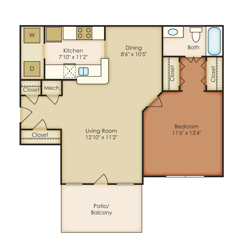 Floor Plan  Addison 1 Bedroom 1 Bath Floorplan at Crestmark Apartment Homes, Lithia Springs, GA, 30122