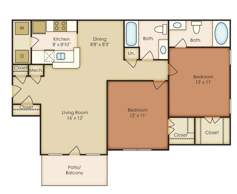 Floor Plan  Bellmont 2 Bedroom 2 Bath Floorplan at Crestmark Apartment Homes, Lithia Springs, Georgia