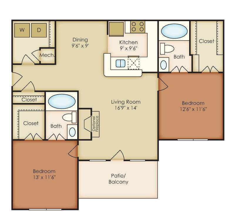 Floor Plan  Berkley 2 Bedroom 2 Bath Floorplan at Crestmark Apartment Homes, Lithia Springs