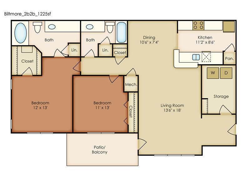 Floor Plan  Biltmore 2 Bedroom 2 Bath Floorplan at Crestmark Apartment Homes, Georgia