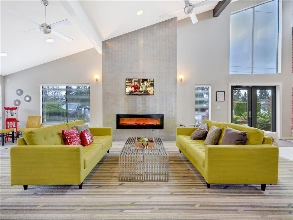 Clubhouse sitting area and fireplace