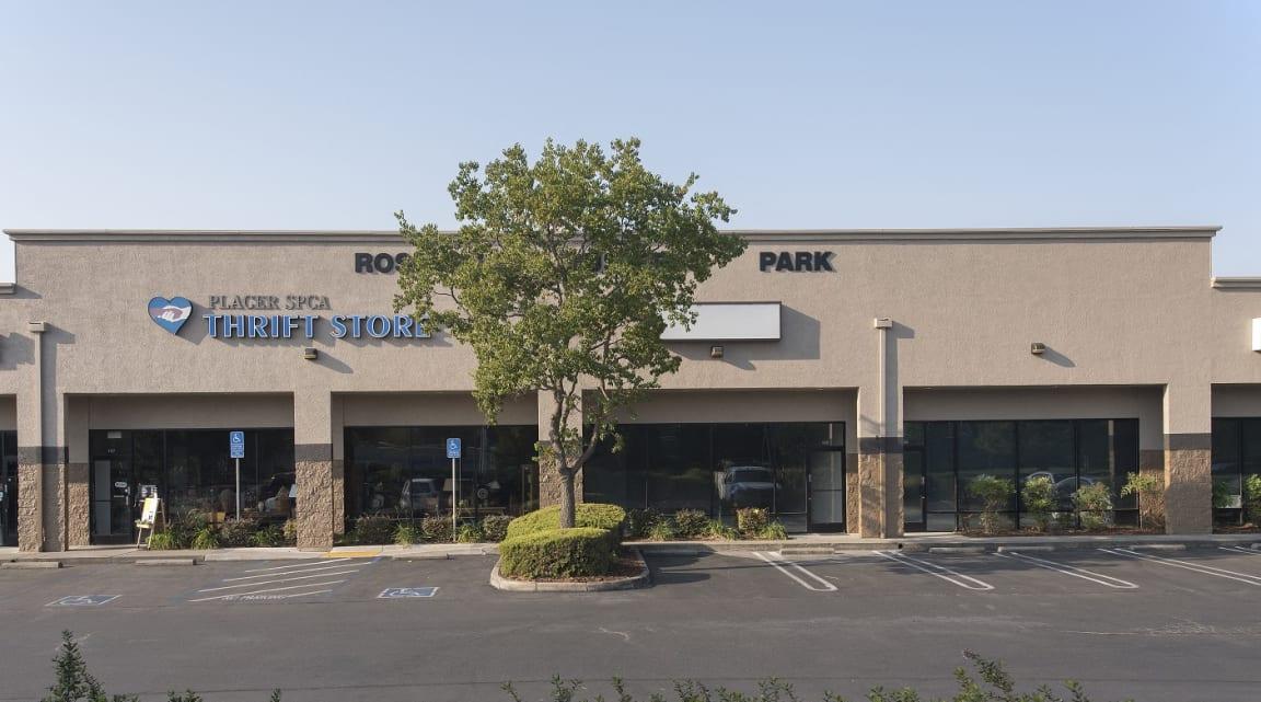 Roseville Business Park Store Front Parking Lot View