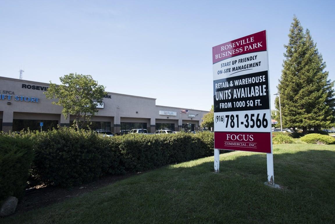 Roseville Business Park Now Leasing Sign