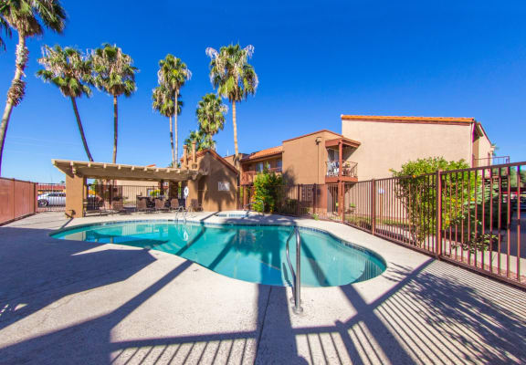 Pool & pool patio at Canyon Heights Apartments in Tucson, AZ