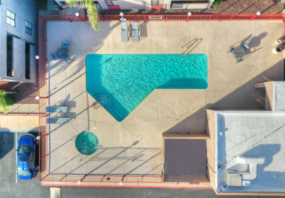 Aerial pool view at Nine90 Apartments in Tucson AZ November 2020