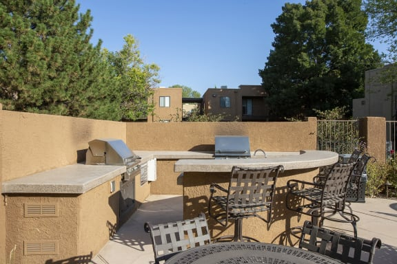 Community BBQ grill at Tierra Pointe Apartments in Albuquerque NM October 2020