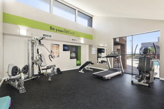 Fitness center at Nine90 Apartments in Tucson AZ November 2020