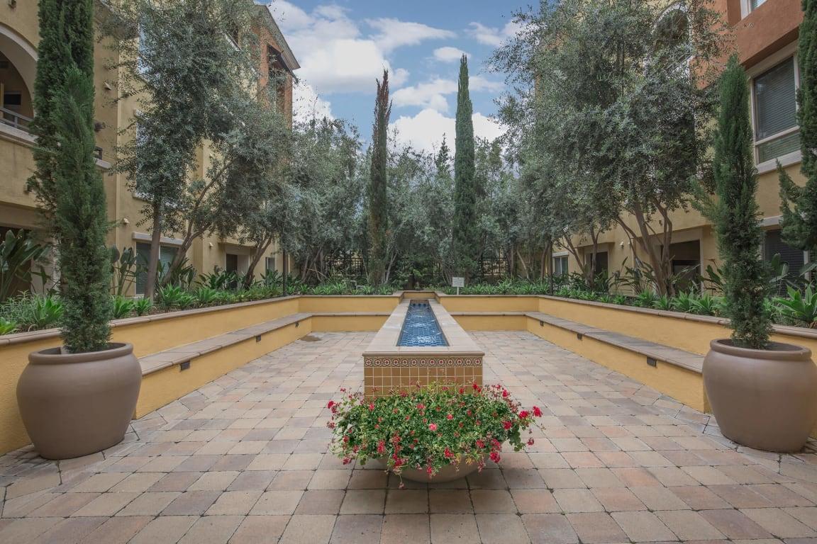 Zen garden at Meridian Place Apartments in Northridge, CA