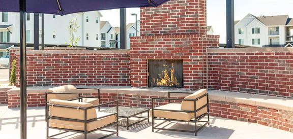 Outdoor Fireplace at Rivulet Apartments, Utah