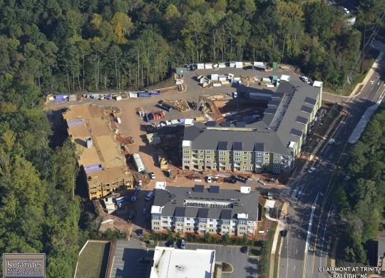 Aerial of two buildings