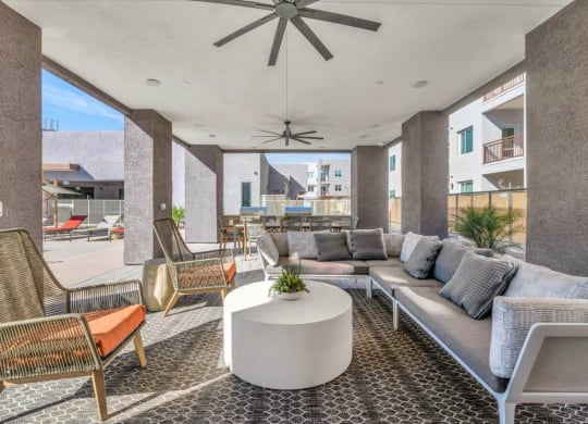 Outdoor Lounge Area at Grayson Place Apartments, P.B. BELL Assets Management, Goodyear, AZ, 85395