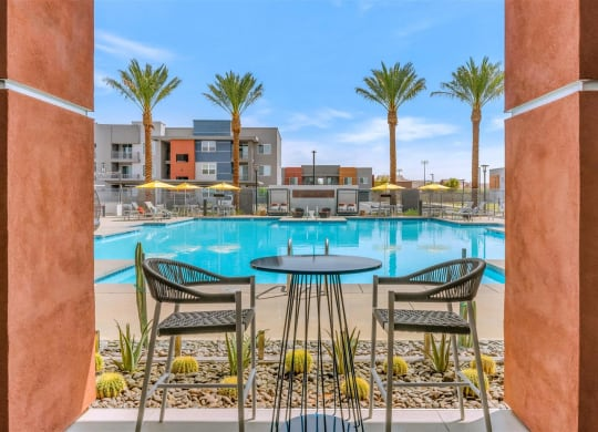 Poolside Relaxing Area at Copper Falls Apartments, PB Bell, Glendale, 85305