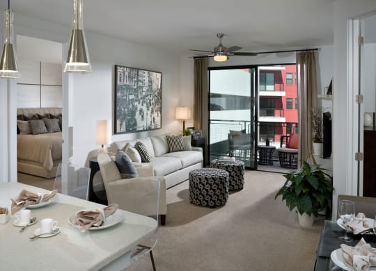 Spacious Living Room With Private Balcony at The Encore by Windsor, Atlanta, GA, 30339