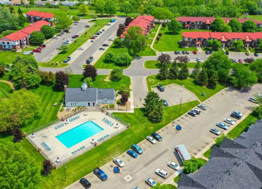 Aerial View of Community and Surroundings at Apple Ridge Apartments, Walker, Michigan